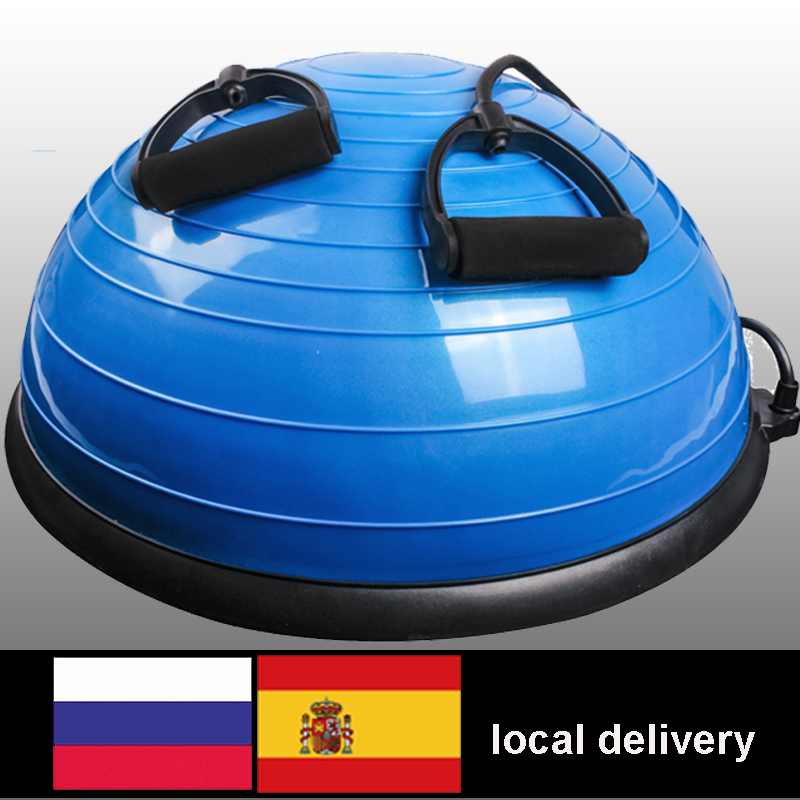 58cm Yoga Balance Ball Gym Workout Ball Pilates Half Yoga Ball Exercises Training Fitball With Strings and Pump