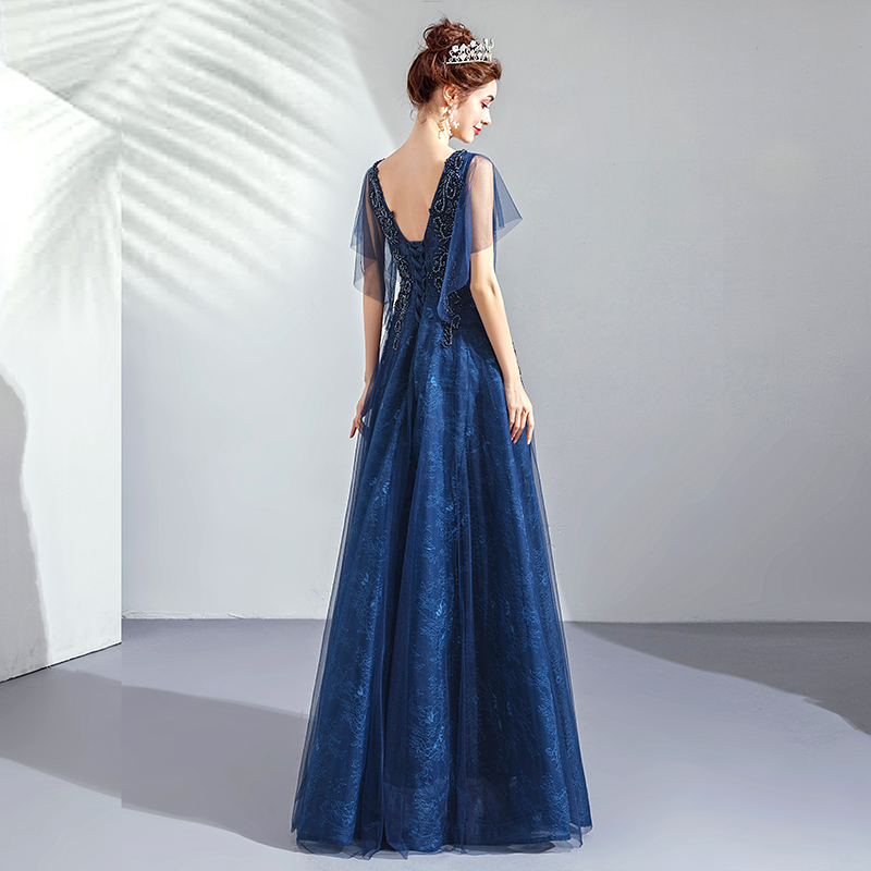 2019 Robe De soirée col en v longue grande taille femmes fête Robe De bal avec manches Vintage bleu Royal dentelle élégante Robe De soirée E223 - 5