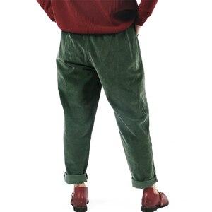 Image 4 - Johnature 2017 calças de veludo feminino do vintage outono inverno casual engrossar cintura elástica quente solto algodão plissado