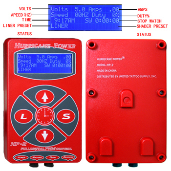 Red  Hurricane Power Digital LCD Tattoo Power Supply Liner/Shader Dual Setting for tattoo machine tattoo gun free shipping software selection for a liner shipping company
