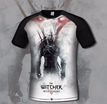 SzBlaZe Brand New Digital The Witcher 3 Wild Hunt Print T Shirt Cosplay fashion Short Sleeve Shirt  Gamer clothing Oneck shirt