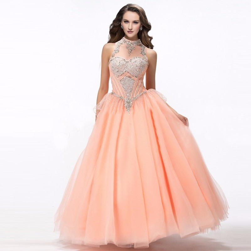 c5d9664ce Puffy Coral Quinceanera Dresses Online Halter 2016 Sweet 16 Dresses Party  Vestidos 15 Anos Quinceanera Cheap Quinceanera Gowns
