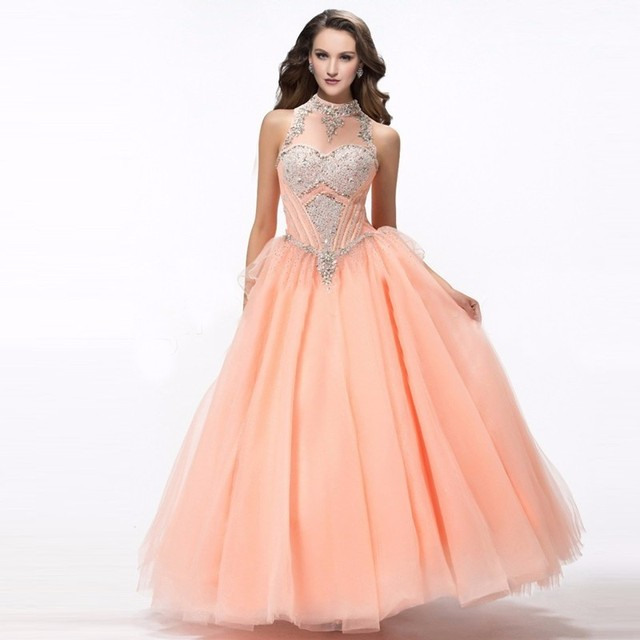 dc925215d1 Puffy Coral Quinceanera Dresses Online Halter 2016 Sweet 16 Dresses Party Vestidos  15 Anos Quinceanera Cheap Quinceanera Gowns
