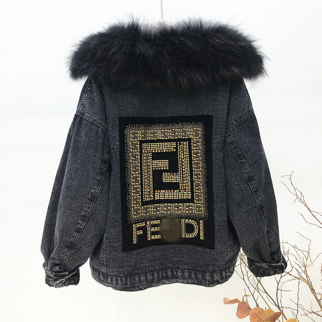 Winter Women Thick Flocking Denim Jacket Warm Natural Fur Collar Parka Brand Female Diamonds Overcoat Plus Size Long Sleeve Coat