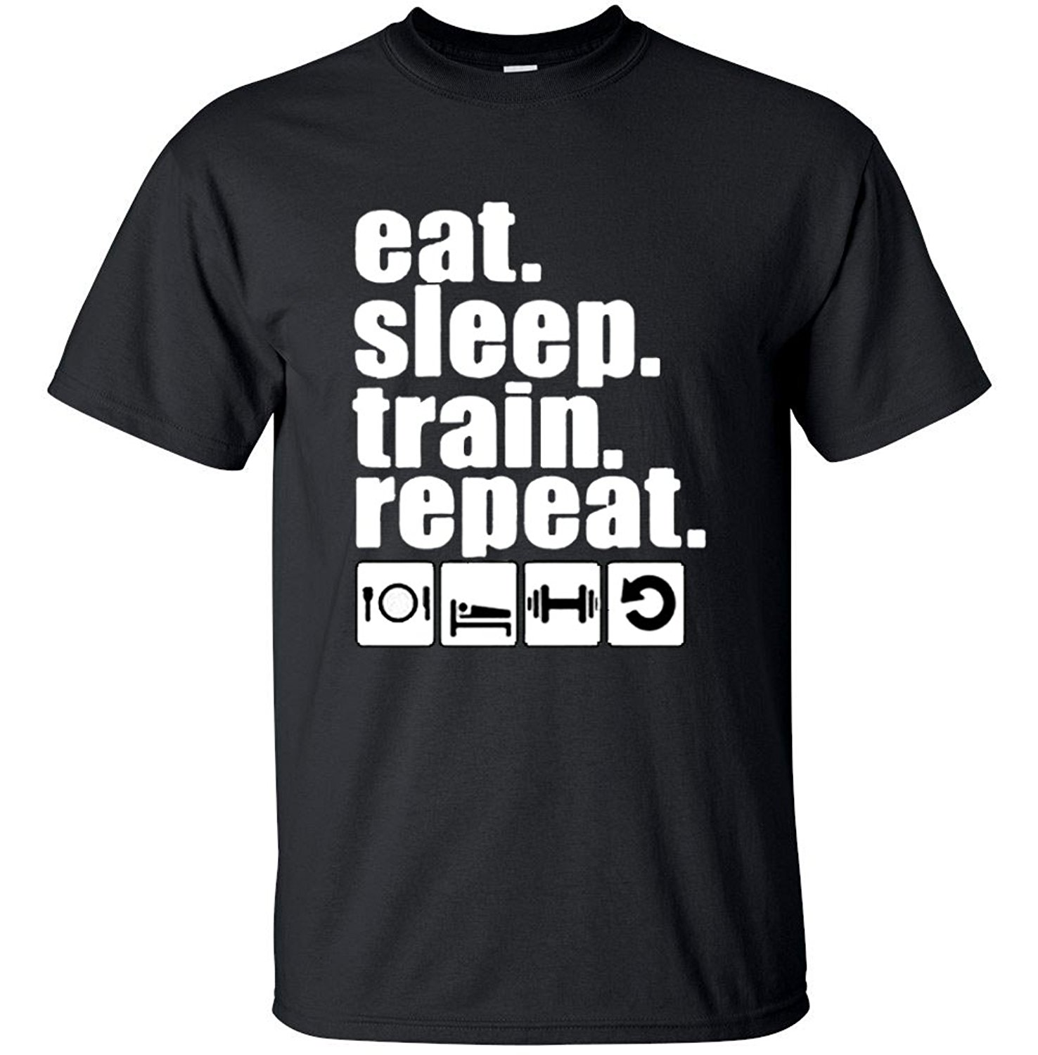Printed T Shirts Online MenS Short Eat Sleep Train Repeat Gymer O-Neck Tall T Shirt