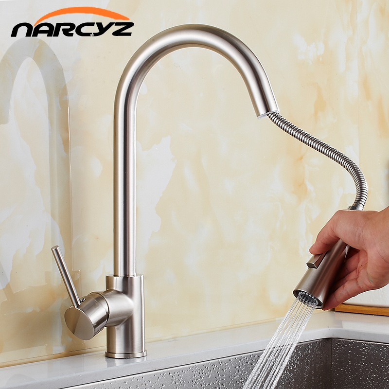 Kitchen Faucets Chrome Pull Out Kitchen Tap Single Hole Handle Swivel 360 Degree Water Mixer Tap