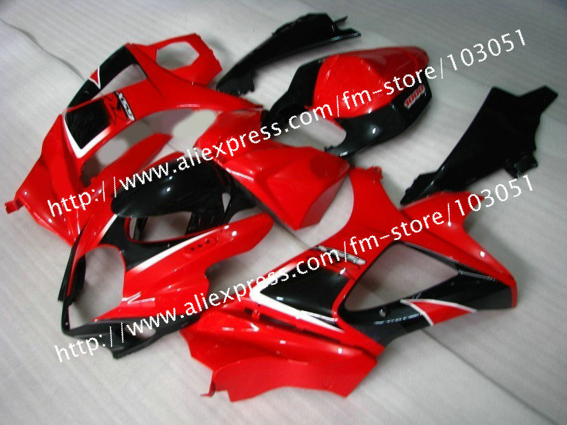 7 gifts body work for 2007 SUZUKI GSXR 1000 fairings K7 2008 gsxr fairing 07 08 black with glossy red Dr10