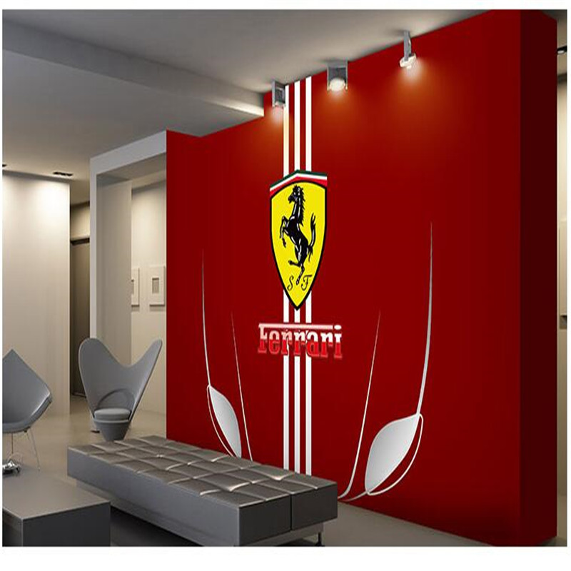 Custom size photo background wall paper red ferrari logo for Custom size wall mural