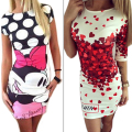 Summer Style Vestidos Robe 2016 Love Heart Cartoon Print Bodycon Dress Women Outfit Party Slim Fashion Casual Dresses