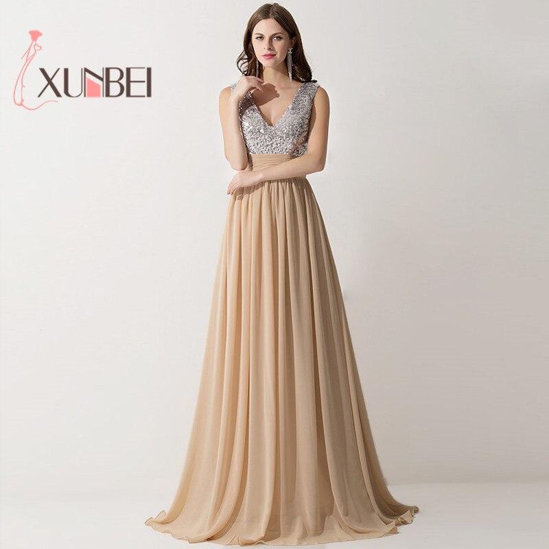 V Neck Sequined Chiffon Long   Prom     Dresses   Sleeveless Formal vestido de festa Party vestido longo Evening Bridesmaid   Dresses