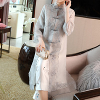 Vintage Dress Women 2019 Spring Summer NEW Fashion Chinese Style Embroidered Mesh Stand Collar Frog Closure Elegant Dress Midi