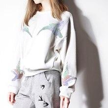 2016 O-neck Full Sale Moon V25 Super Symmetric Atmospheric Light Color Embroidery Dark Bird Loose Retro Sleeved Sweatshirt Lady