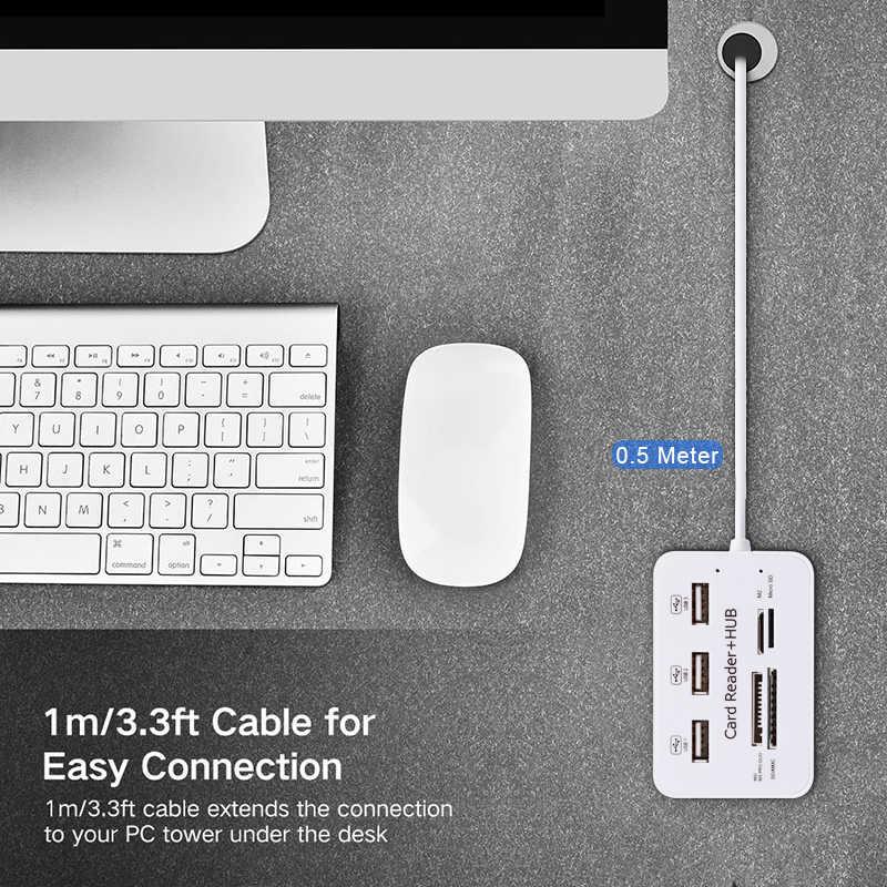 Hub متعددة الوظائف الفاصل 3-Port USB 2.0 Hub قارئ بطاقات USB Hub الفاصل مايكرو SD/TF قارئ بطاقات للكمبيوتر/ملحقات للكمبيوتر المحمول