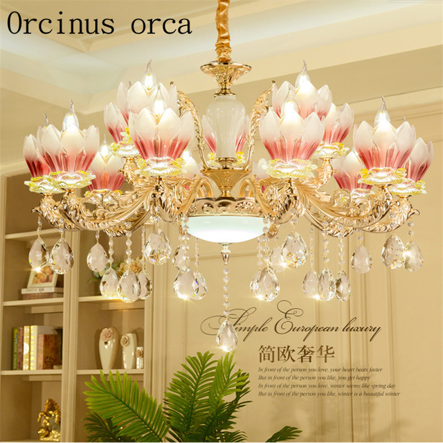 European luxury crystal chandelier living room hotel club bedroom european luxury crystal chandelier living room hotel club bedroom restaurant alloy jade flower chandelier free shipping aloadofball Image collections
