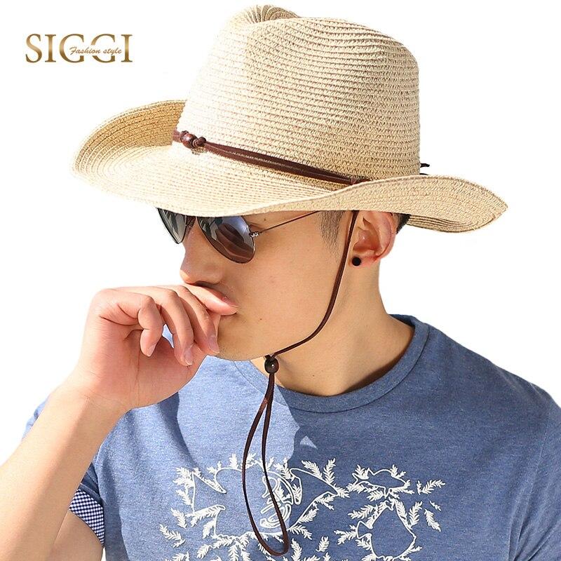 SIGGI Unisexe hommes western style cowboy chapeau de paille femmes