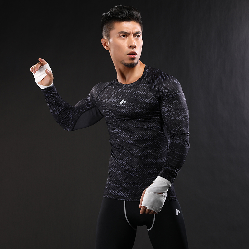 8f94820e7aef7 Dry Fit Men Running T Shirt Long Sleeve Fitness Basketball Tops Exercise  Training Sports Shirt Gym Compression Tight Tees-in Running T-Shirts from  Sports ...