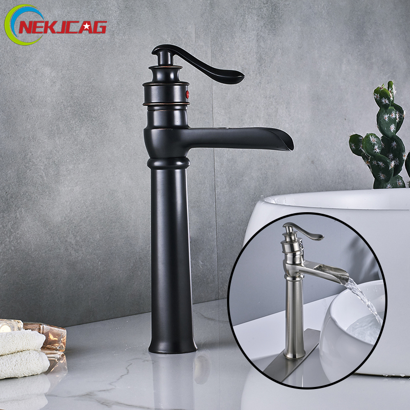 Basin Waterfall Faucet Hot and Cold Water Mixer Tap Brushed Nickel ORB Bathroom Single Handle Faucet with Plate newest washbasin design single hole one handle bathroom basin faucet mixer tap hot and cold water orb chrome brusehd