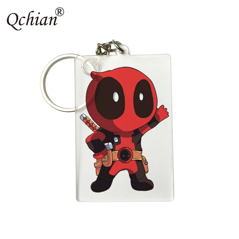 Avengers Hero Deadpool HD Fine Picture LOGO Custom Printed Series Acrylic Decorative Pendant Keychain