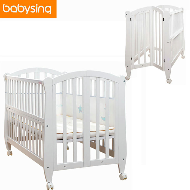 Three Level Adjustment Newborn Baby White Solid Crib 100%