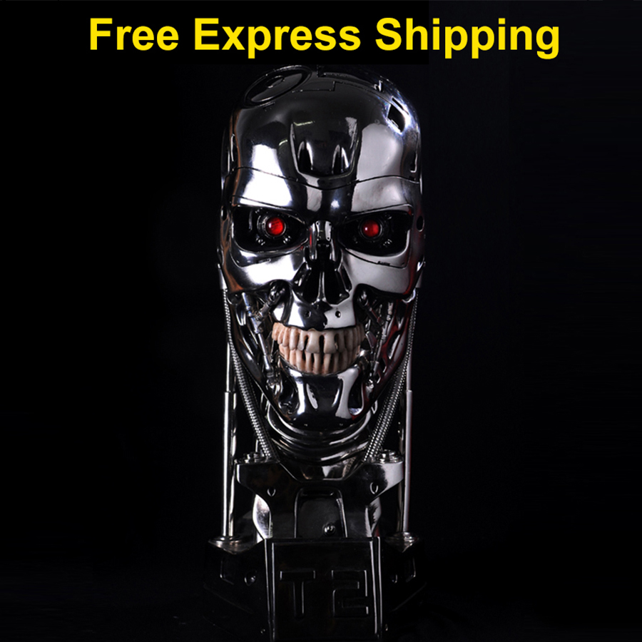 1:1 Resina Estátua Terminator Endoesqueleto T800 T2 Crânio Elevador-Tamanho do Busto LEVOU OLHO Figura de Ação da Resina Estatueta Coleção de Réplica