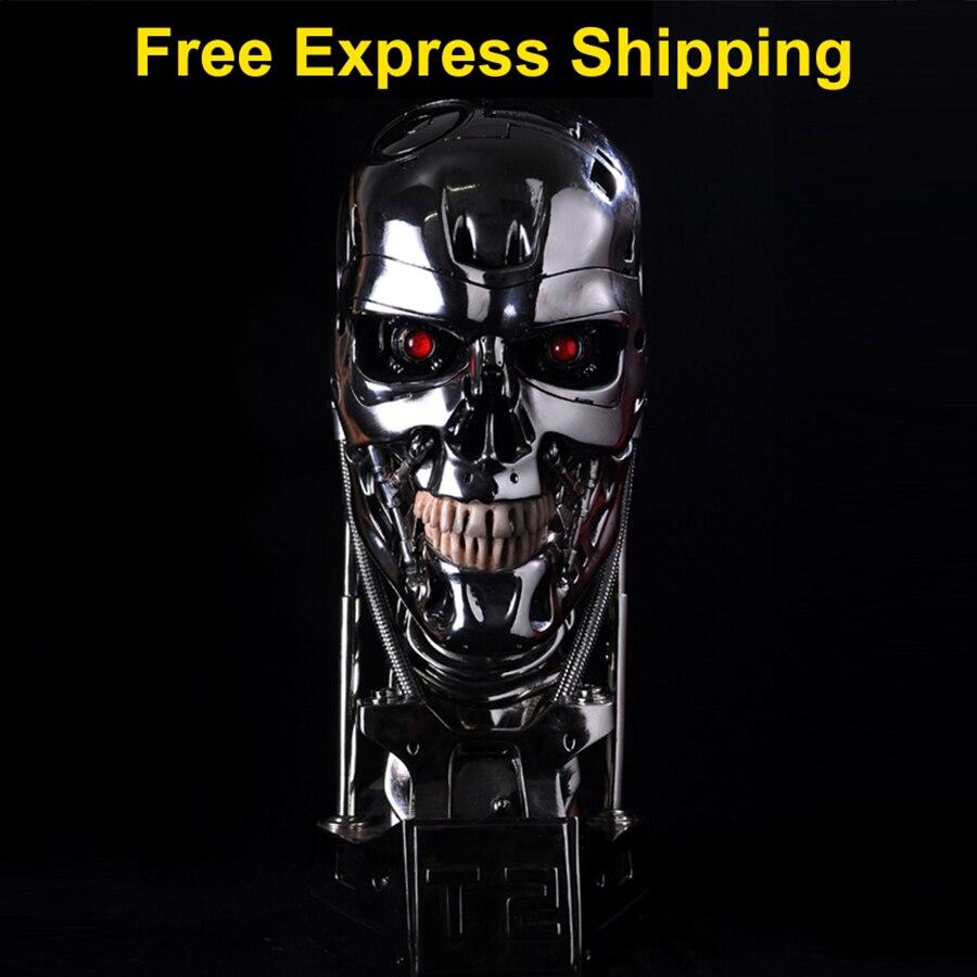 Terminator T800 Sideshow 1:1 Terminator T-800 Cranio Busto 3D Modello T2 Cranio Endoscheletro T 800 Figura Statue In Resina Con LED occhi