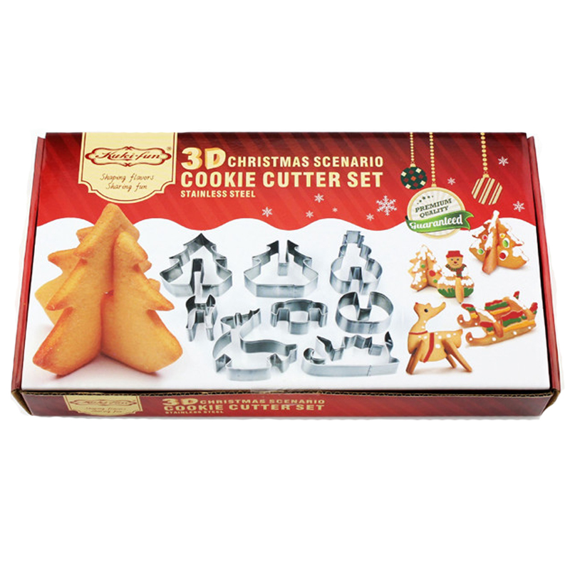New Brand 8PCS Set DIY Stainless Steel Bakeware 3D Christmas Cookie Cutter
