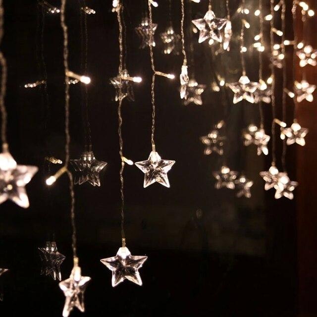 m de hielo led cadena luz ao nuevo guirnalda estrella modelado led luminarias de iluminacin