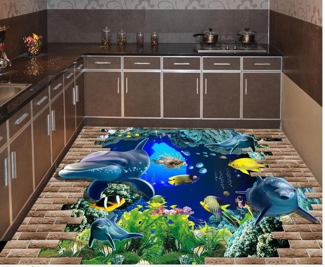 Dekoration 3d Boden Malerei Angebracht Dolphins Unterwasserwelt