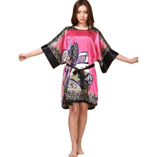 Hot Sale Chinese Women s Silk Sleepwear Robe Summer Lounge Home Dress  Printed Flower Peaco Yukata Nightgown J07 fe65e234f
