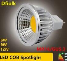 Lampada led de alta potência, holofote led mr16 gu5.3 cob 6w 9w12w, regulável, branco quente e frio mr16 12 lâmpada v gu 5.3 110/220v