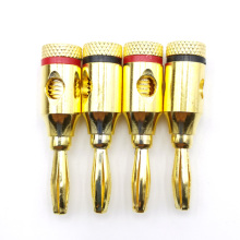 2pairs 4mm Threaded connection type Gold-plated Speaker Banana Plug Adapter DIY HiFi boombox Jack Audio Cable Connectors