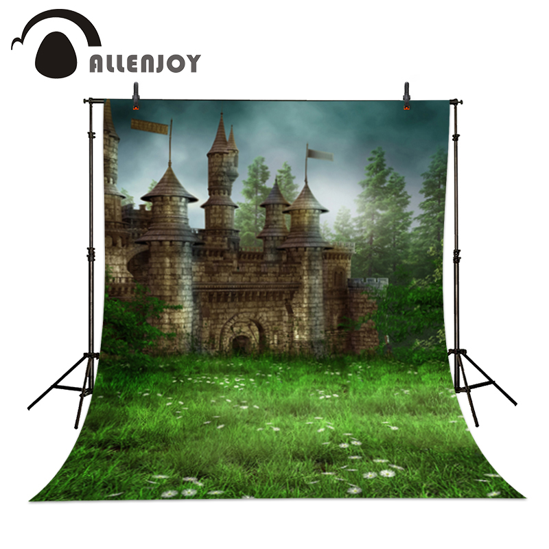 Vinyl photo studio background The castle grassland fairyland blurring backdrop picture children's photocall love of the grassland 600g