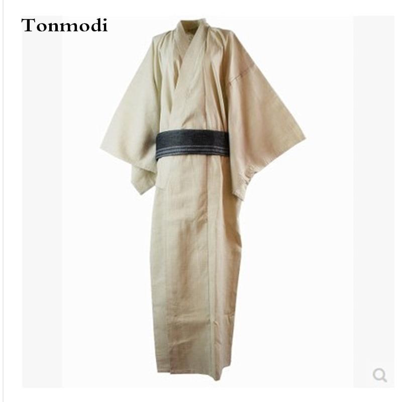Pajamas Kimono 100% Cotton Woven cloth Men long kimono design bathrobes Robe Mens Gown