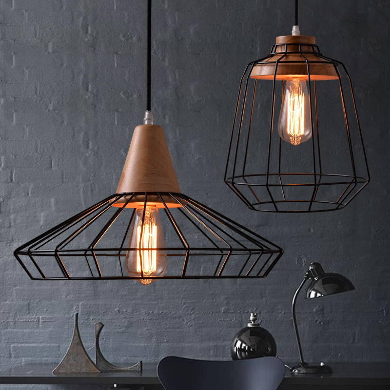 Black Iron Wood Cage Pendant Light Cord Fixture Nordic Modern Vintage Hanging Lamp Lustre Avize Design Foyer Dinning Table Room wood pinecone pendant light fixture modern nordic antichoke hanging lamp lustre avize luminaria dining table room restaurant