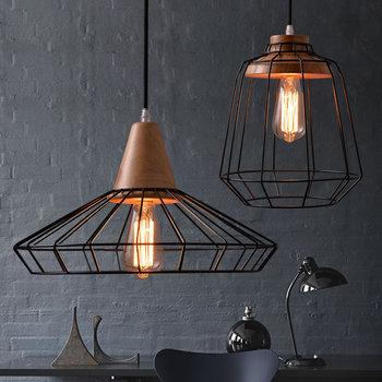 Black Iron Wood Cage Pendant Light Cord Fixture Nordic Modern Vintage Hanging Lamp Lustre Avize Design Foyer Dinning Table Room
