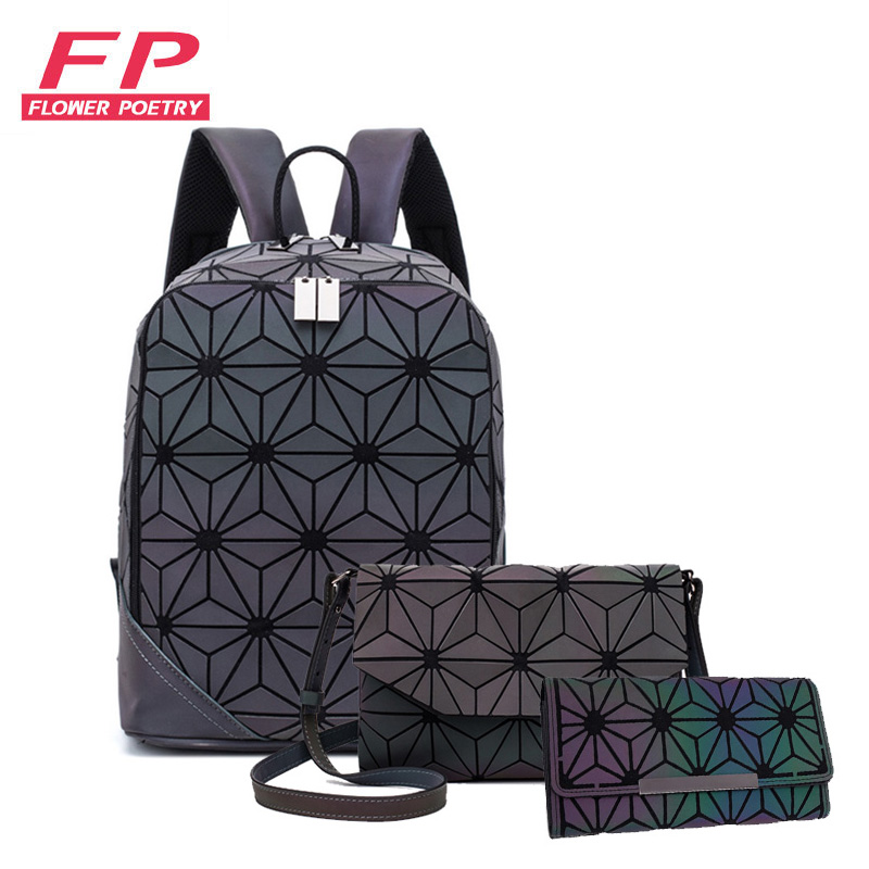 New Luminous Backpack Women Backpack Lattice Set School Backpacks For Teenage Girl School Bags Holographic Clutch Purse Mochila