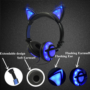 Image 2 - متوهجة ضوء القط سماعات أذن القط ستيريو سماعات 3.5 مللي متر السلكية سماعة الألعاب ل ألعاب الكمبيوتر المحمول الهاتف SP4 جديد XBOX اللوحي