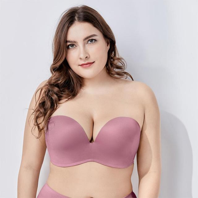 Women Slightly Lined Silicone Bands Strapless Seamless