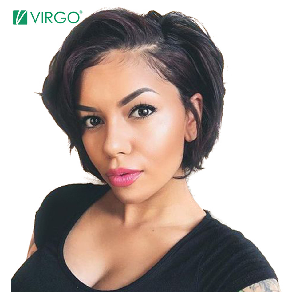 Virgo Short Bob Pixie Cut Wig Lace Front Human Hair Wigs For Black Women Pre Plucked Hairline Lace Front Wig Remy Hair