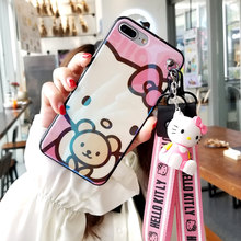 For iphone 7 7plus Cartoon cat Case, Cute pink Soft Back Case For iphone XR XS max X 6 6s 6sp 8 8plus fundas + toy straps(China)