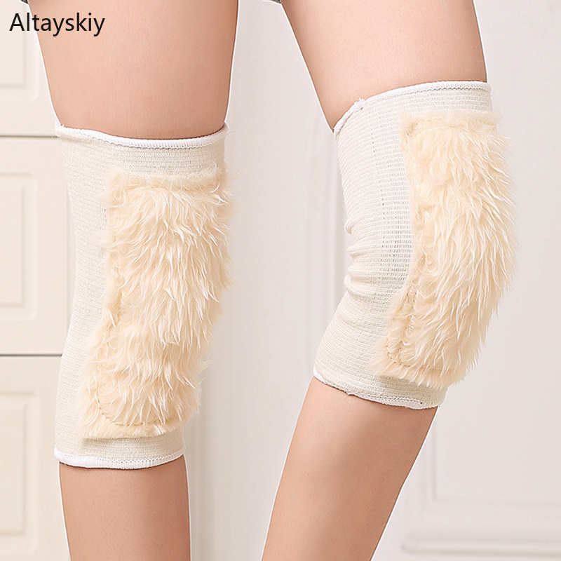 Knee Sleeve Women Plus Velvet Thicker Soft Winter Womens Warm All-match Solid Simple Comfortable Cotton Chic Fit Korean Style