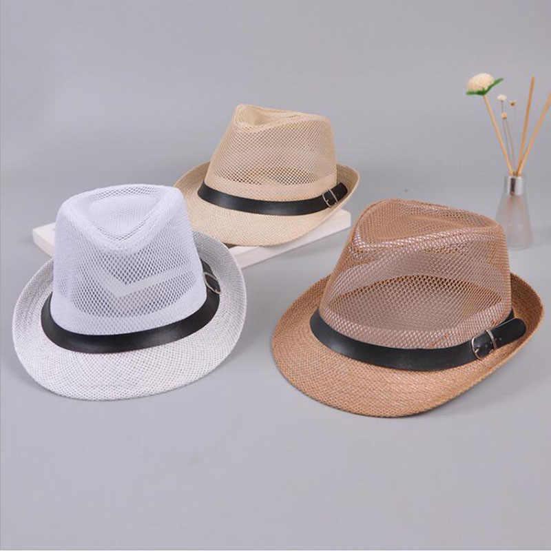 Gorra de paja de Jazz para hombre gorra de Sol de Panamá informal para hombres verano moda sombrero de playa para hombre Fedora gorra de visera sombrero decorado con cinturón