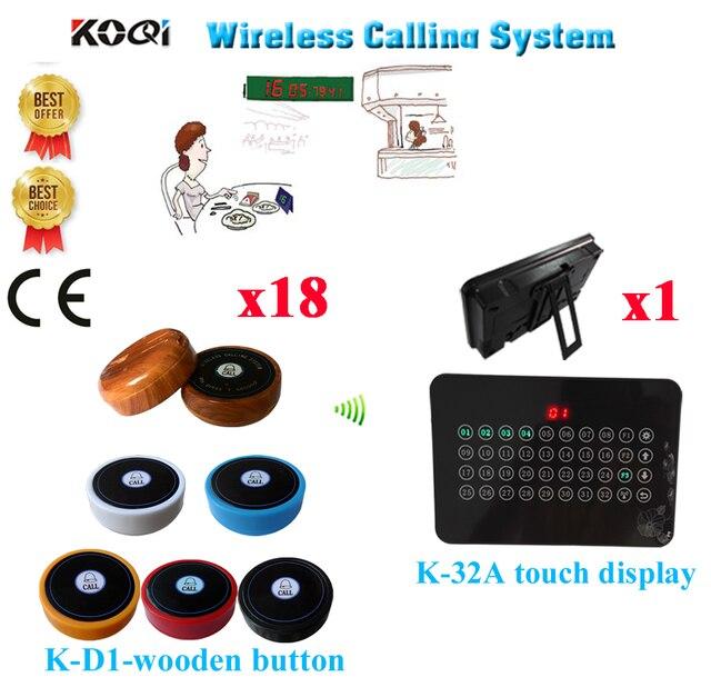 Sistema de campana de mesa buscapersonas inalámbrico 433,92 MHZ Mesa camarero números restaurante CE pasado (1 pantalla + 18 Botón de llamada)