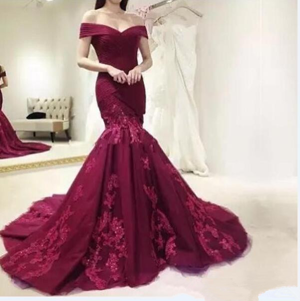 Robe de soiree Off The Shoulder Burgundy Mermaid Tulle   Evening     Dresses   Long 2019 Beaded Applique Formal   Evening     Dress   Party Gown