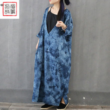 2016 female new autumn original design vintage linen robe blue tie-dyeing loose deep v neck long design fluid dress