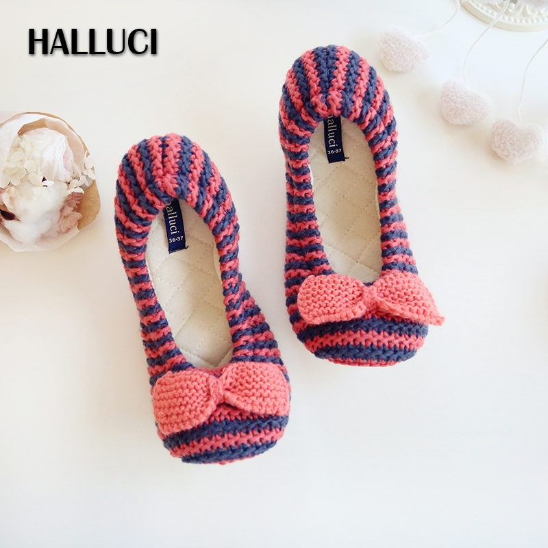 Stripe Knitted House Slippers Shoes Woman Cute Bowknot Ballet Sleepwear Bedroom Non-slipsoft Maternity Home Shoes Slippers