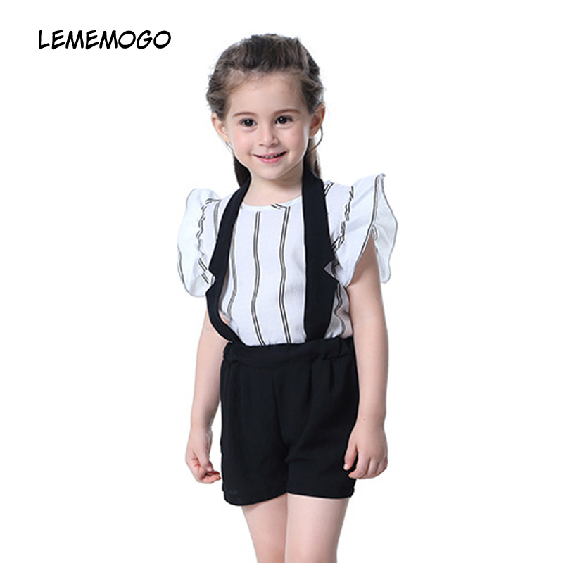 LEMEMOGO Girls Clothing Sets Summer 2018 Kids Fashion Striped Short T-Shirt+Rompers 2pcs Suit For Newborn Baby Girl Clothes Sets