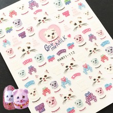 Newest HANYI-112 Meow lovely cat pattern nail stickers 3d Japan style nail decals DIY decoration for nail wraps недорого