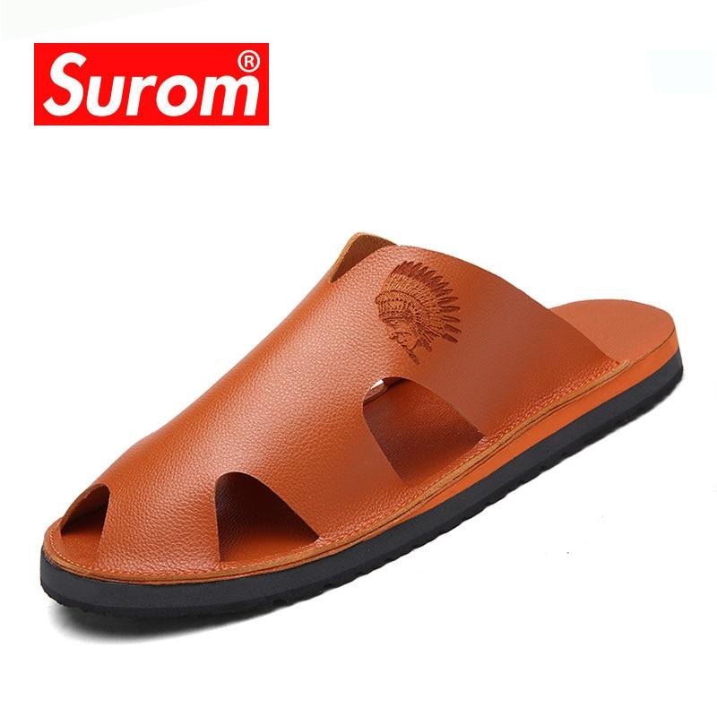 SUROM 슬리퍼 패션 플랫 비 슬립 마사지 비치 플립 - 남성용 신발