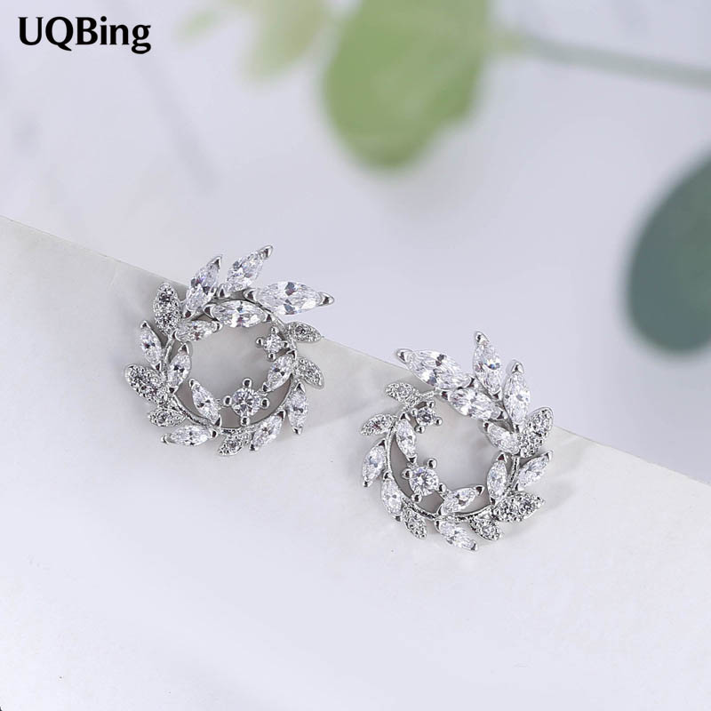 2018 Fashion 925 Sterling Silver Round Rhinestone Stud Earrings Jewelry Pendientes Brincos Fashion Jewelry